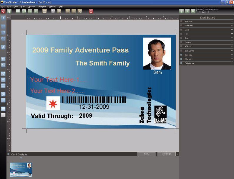 logiciel cartes badges cardstudio zebra